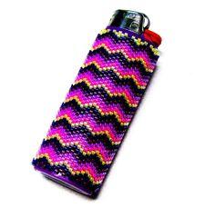 Beaded Lighter Cover, Fits Standard Bic Lighter, Handbeaded With Myuki Delica Glass Seed Beads by TheBeadedDiamond on Etsy