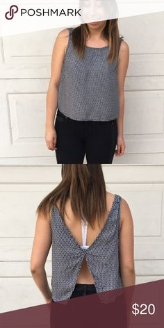 Brandy tank top Flower black and white shirt with open back detailing. Brandy Melville Tops Tank Tops