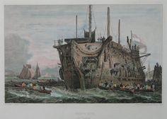 Antique Print - Prison Ship at Deptford - Cooke