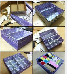 Всё для дома diy storage boxes, diy storage и cardboard crafts. Diy Storage Boxes, Craft Storage, Diy Drawer Organizer, Diy And Crafts Sewing, Crafts For Kids, Cardboard Box Crafts, Diy Box, Craft Videos, Decorative Boxes