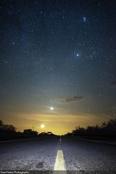 Road to Moon, Venus, Jupiter, Pleiades, and Orion | by Sean Parker Photography