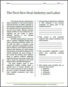 First New Deal: Industry and Labor | Free printable reading with questions for high school American History.
