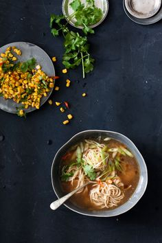 This recipe for Chinese Chicken Noodle Soup with Flash-Fried Soy and Shaoxing Sweetcorn is not only delicious but cost effective too. Chinese Chicken Noodle Soup, Asian Noodles, Fresh Coriander, Marinated Chicken, Winter Food, The Fresh, I Foods, Magazine Online, Healthy Recipes