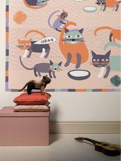 Miau pink / non-woven mural / lavmi