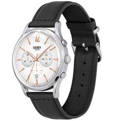 Henry London Highgate Gents Black Leather Strap Watch with Stainless Steel Silver Casing - White London Watch, Gold Hands, Stitching Leather, Black Leather, Easter Sale, Stainless Steel, Unisex, Watches, Silver