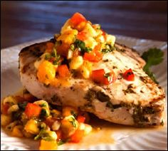 My Friday night dinner  -Grilled Swordfish with Mango Salsa recipe from Food52
