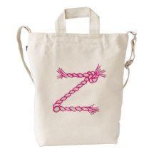Custom Letter Z Initial Pink Monogram Duck Bag Duck Canvas Bag