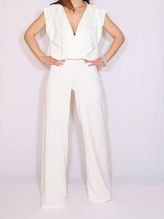 Off white jumpsuit Sleeveless jumpsuit women Wrap top