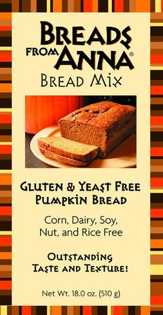 Breads from Anna — Gluten and Yeast Free Pumpkin Bread Mix. Corn, Dairy, Soy, Nut and Rice free too!