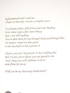 Inside of honorary bridesmaid card