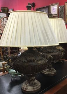 Pair Of Palatial Bronze And Gold Table Lamps For Your Living Room Or  Bedroom. Louis XIV Style Oval Urns With Pleated, Oval Shades. Hand Finished.