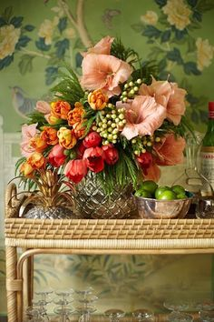 bar cart with beautiful bouquet of flowers