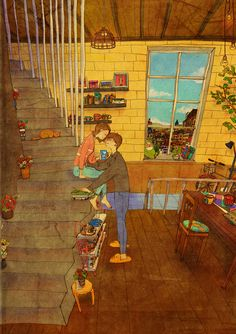 Love Is In The Small Things: New Illustrations By Korean Artist Puuung Pics) Couple Illustration, Illustration Art, Puuung Love Is, Ah O Amor, Cute Couple Art, Couple Drawings, Korean Artist, Cute Love, Love Art