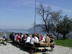 Dine on terrace overlooking lake Traunsee and mountains. Stuff To Do, Things To Do, Austria, Playground, Terrace, Camping, Mountains, City, Summer