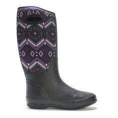 Black rubber tall rain boots with a neoprene purple geometric patterned upper.