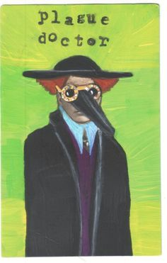 Plague Doctor small US original outsider artist acrylic vintage painting  #Outsider