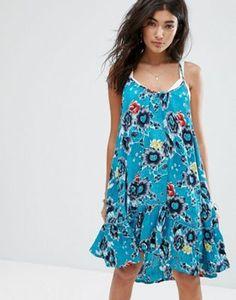 Billabong Relaxed Cami Beach Dress With Peplum Hem In Deep Sea Print