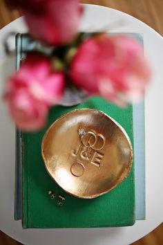 gold stamped ring dish DIY