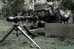 German soldier with the MG 34 machinegun