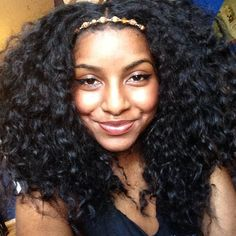 long curly kinky black hair. beaded headband