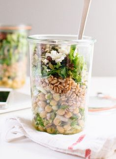 Mason Jar Chickpea, Farro and Greens Salad (