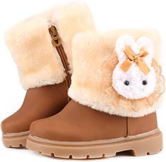 Femizee Baby Girls Infant Toddler Winter Fur Shoes Rabbit Snow Boots Booties(Toddler/Little Kid) Girls Winter Boots, Winter Snow Boots, Winter Shoes, Toddler Snow Boots, Kids Boots, Warm Boots, Brown Boots, Bootie Boots, Shoe Boots