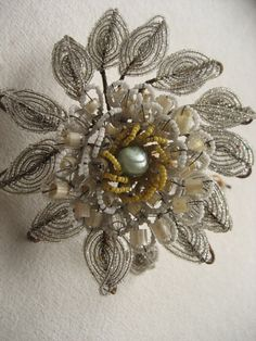 French antique glass beads flower