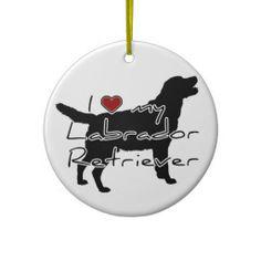 """I """"heart"""" my Labrador Retriever"""" words with graphi Ornament"""