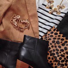 Instagram @headedoutthedoor #ootn #latergram | #loftgirl shirt | #bananarepublic blazer and boots | #gap coated jeans | #clarevivier clutch | #jcrew necklace and bracelet | #jcrewfactory bracelet | #hm bracelets