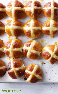 Hot cross buns are an Easter essential and ours are easy to make. Filled with cinnamon and raisins these delicious buns are best served warm with lashings of salty butter. Get the recipe on the Waitrose website.