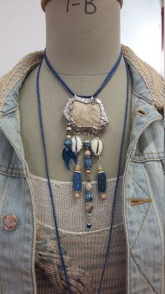 BOHO/GYPSY natural/ blue necklace by RosenvingesdesignNO on Etsy