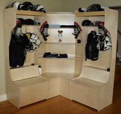 Corner unit adds a great finish and storage space to 2 or more PROstalls. Popular in team room. Locker Crafts, Diy Locker, Locker Storage, Garage Storage, Locker Ideas, Garage Lockers, Sports Storage, Sports Locker, Hockey Bedroom