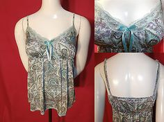 The-Limited-Aqua-Blue-Green-Paisley-Floral-Lace-Trim-Camisole-Top-Blouse-Size-S  http://www.ebay.com/itm/172222784184