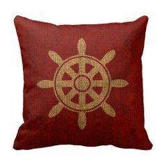 Nautical Helm Wheel Red Throw Pillow