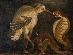 "Airone e cobra - heron and a cobra from the triclinium of the ""casa degli epigrammi"" (45-79 d.C.) da Pompei - National Archaeological Museum, Naples"