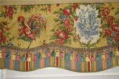 Custom Made - French Country VALANCE Waverly Fabrics Saffron Red Gold ... Country Valances, Waverly Fabric, French Linens, French Fabric, Curtain Ideas, Red Gold, Window Treatments, French Country, Fabrics
