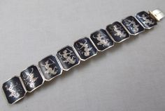 Vintage Siam Niello Panel Bracelet by RedsArtJewelry on Etsy, $55.00