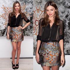 Miranda Kerr silk brown skirt