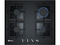 Placa Balay 3ETG664HB gas de 60 cm de ancho cristal templado negro 9 niveles de llama