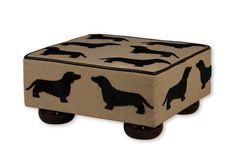 Dogs in Art at the StockBridge Gallery - Footstool - Dachshund Pattern, £95.00 (http://www.dogsinart.com/footstool-dachshund-pattern/)