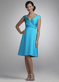 Retro refinement for modern weddings and parties. This short, off-the-shoulder dress features cap sleeves, a surplice bodice and ruched waist. Universally flattering, A-line design is available in a vivid palette of rich satin. Fully lined. Back zip. Imported polyester. Hand wash or dry clean.  To protect your dress, try our Non Woven Garment Bag. Please Note- Sale pricing varies according to color. Please click color and size to view pricing. *SPECIAL VALUE! Was , Now ! (final selling ...