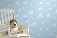Happy Kids 05572-10 Papel de Parede Vinilizado Nuvens Azul Claro, Branco