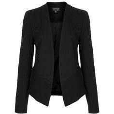 TOPSHOP Slim Fit Tailored Blazer (22 AUD) ❤ liked on Polyvore featuring outerwear, jackets, blazers, coats, tops, black, topshop, tailored jacket, pocket jacket и slim black blazer