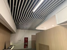 office baffle ceiling Baffle Ceiling, Metal Ceiling, Ceiling Height, Fire Sprinkler, Construction Drawings, Ceiling Decor, Building Materials, Colorful Pictures, Aluminium Alloy