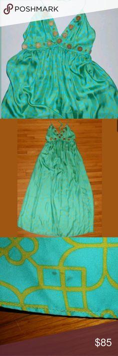 afad60820d215 Milly Green Silk Gold Sphaghetti Strap Maxi Dress Gorgeous silk dress in a  rich teal green
