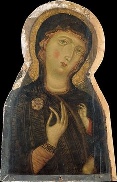 Painted in the 1280s, this head is a fragment of a large painting of the Madonna and Child (whose blessing hand and knee can be seen). The artist was a close follower of Cimabue, the principal painter in Florence before Giotto