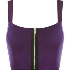 Lindsey Zip Detail Sleeveless Bralet ($17) ❤ liked on Polyvore featuring tops, shirts, crop top, crop, purple, zipper top, zip crop top, bralet crop top, no sleeve shirt and shirt tops