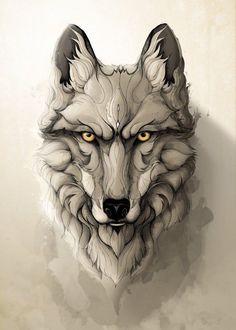 by rafapasta cg metal posters art wölfe tattoo Wolf Tattoos, Animal Tattoos, Animal Drawings, Art Drawings, Wolf Tattoo Design, Wolf Design, Nature Posters, Animal Posters, Print Artist