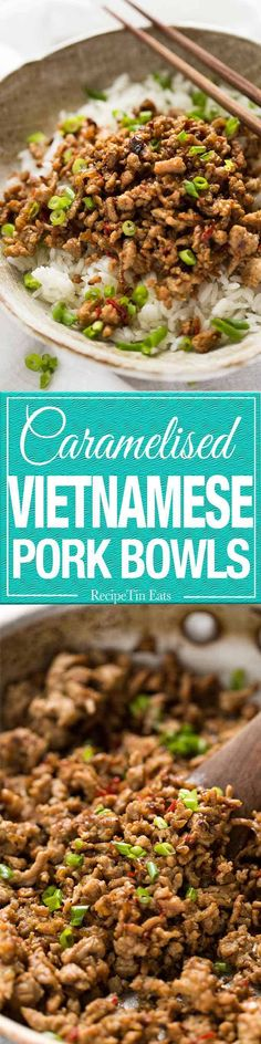 Vietnamese Caramelised Pork Bowls - garlic, ginger, chili, fish sauce and sugar. Mince Recipes, Pork Recipes, Asian Recipes, New Recipes, Cooking Recipes, Favorite Recipes, Healthy Recipes, Savoury Recipes, Asian Foods