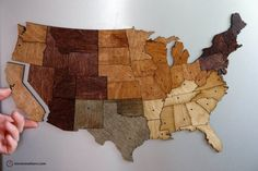 magnetic US map puzzle in variegated wood by Steven Mattern